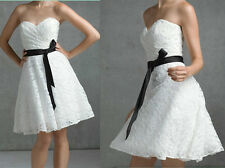 New White/Ivory Knee length Formal Party Dress Lace Wedding Dress Stock Sz 4-14