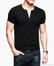 NEW Mens Top Tee Casual T-Shirt Deep V-Neck Short Sleeve Stretch Cotton Fit Slim