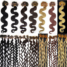 "New 20""100S Pre Bonded U/NAIL Kertain Tip Wavy Remy Human Hair Extensions 0.5g/s"