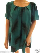 NEW Evans Green Black Short Sleeve Casual Summer Tunic Top Blouse Size 16 - 28