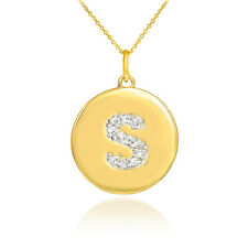 """10k Yellow Gold Letter """"S"""" Initial Diamond Disc Charm Pendant Necklace"""
