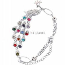 Fashion Lovely Colorfull Crystal Peacock Bangle Bracelet Wristband Chain Gift