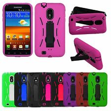 Rugged Hybrid Hard Skin Case Stand Cover For SAMSUNG GALAXY S2 S 2 EPIC 4G D710