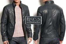 NWT Hugo Boss Black Label Goat Leather Jacket in Dark Blue
