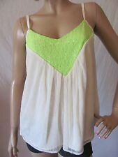 New MISS ME Womens Ivory Green Sequin Lace Pieced Trapeze Cami Tank Top $48