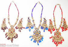 Indian Jewellery. New Necklace/Earrings Set. Gold/Silver/Red/Pearls. Diamantes.