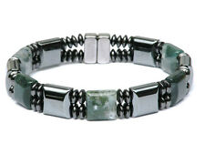 Moss Agate Stones Men's Double Magnetic Circulation Bracelet Anklet 2 Row Gauss+