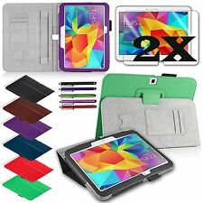PU Leather Cover Case Stand for Samsung Galaxy Tab4 10.1 Tablet Accessory Bundle