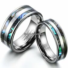 Tungsten Carbide Ring Couples Engagement Double Black Abalone Shell Wedding Band
