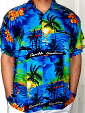 MENS SEXY BLUE FLORAL SAILS PALMTREE HAWAIIAN CARIBBEAN SUNSET SHIRT SZ S - 3XL