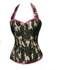 Sexy Camouflage Camo Print Boned Corset Bustier Army Girl Costume Club Top