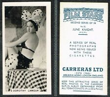 Carreras - Film Stars 2nd Series 1938 #1 to #54 UK Movie Cigarette Cards
