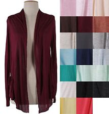 Women Solid Colors Plain Shawl Collar Long Sleeve Open Front Cardigan Knit Top