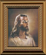 Sallman Christian Art Head of Christ Print Framed w/ Easel for Standing