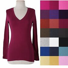 Basic V Neck Long Sleeve Fitted Stretchy T-Shirts Casual Solid Plain Cotton Top