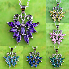 Beauty Butterfly Multi-Color Gemstone Silver Pendant Necklace Gift Free Shipping