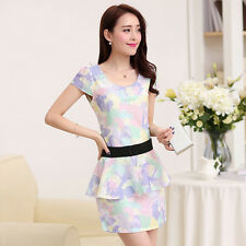 2014 Noble Sexy Womens Crew Neck Floral Print Bodycon Party Clubwear Mini Dress