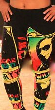 Black Bob Marley Stretch Leggings by RoyalTey Collection