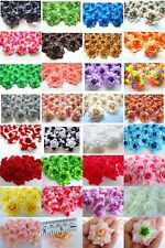100 ROSE ARTIFICIAL SILK FLOWER HEAD WHOLESALE LOTS DECOR CLIP WEDDING PARTY HOT