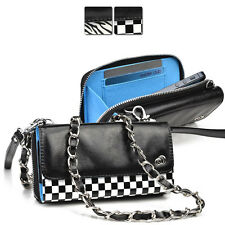 Kroo Bicast Leather Crossbody Purse Wristlet Clutch for Universal Mobile Cell