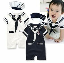 Baby Boy Girl Sailor Fancy Party Costume Outfit Cloth+HAT Set Size 00 0 1 2