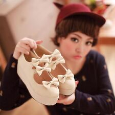 Womens Bowknot Wedge Heel Platform Creeper Mary Janes Pumps Court Casual Shoes