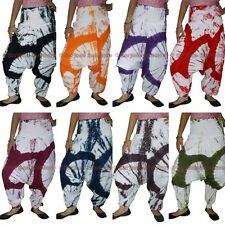 Women Harem Aladdin Pants Cotton Tie Dye Trousers Baggy Yoga Boho Genie Aladdin