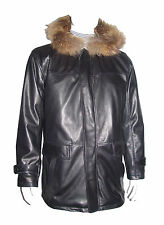 2027 Mens Leather Coat with Hoodie The Parka Fox Fur Trim Larger and All Size