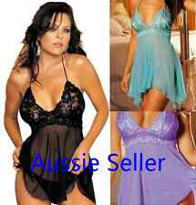 Sexy Women Satin Lace Lingerie Sleepwear Robe with G-string  S M