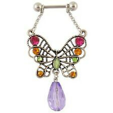 1 ANTIGUE BUTTERFLY WITH TEARDROP STONE DANGLE NIPPLE SHIELD BARBELL 14G 5/8""