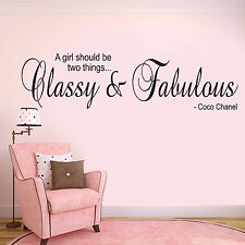 Chanel Classy and Fabulous Quote Wall Sticker, Decal, Vinyl Art Transfer