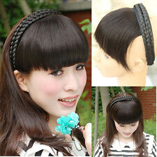 65g 100% Real human hair Hoop Braid Headband Bangs Fringe hair extensions 050