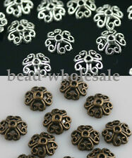 Wholesale 100pc Retro Silver/Bronze Tone Flower Bead Caps Finding 8mm ForJewlery