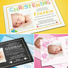 Personalised Photo Christening Baptism Invitations Cards | Boy or Girl