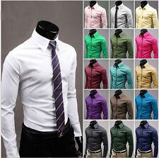 Mens Boy Luxury Cotton Casual Formal Long Sleeve Slim Fit Stylish Dress Shirts