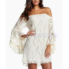 NEW Sexy Lady's Lace Floral Strapless mandarin sleeve Cocktail Party Dress Mini