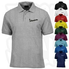 Vespa Scooter Polo Shirt - Classic Embroidered Logo - Premium Quality XS-4XL