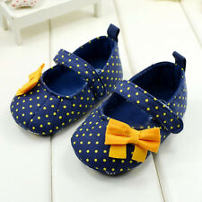 Lovely Baby Toddler Girl Princess Blue Polka Dot Soft Sole Crib Shoes Prewalker