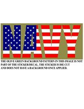 U.S. NAVY WITH UNITED STATES FLAG TEXT VINYL DECAL