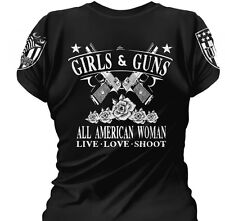 Ladies T-Shirt: Girls & Guns. All American Woman.  Women's Tee.