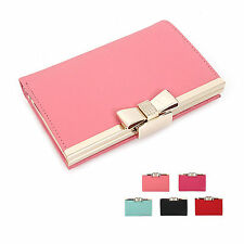 New Ribbon Pendant Genuine Leather Middle Wallet Bifold Women Lady Useful Purse