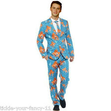 Mens New Goldfish Stand Out Suit Smart Party Fancy Dress Crazy Stag Fun Fashion