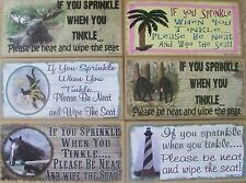 """5"""" x 10"""" Wooden Sign Plaque Bathroom Sprinkle When You Tinkle Wipe the Seat Fun"""