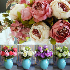1 Bouquet Artificial Silk Peony Flower Leaf Home Party Wedding Garden Decoration
