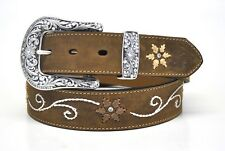 New Nocona Ladies Western Leather Belt & Buckle-Brown N3447044