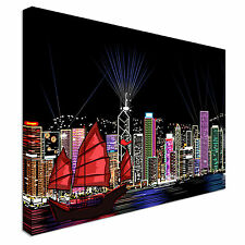 Hong Kong City Landscape by night Canvas Wall Art Print Large Any Size