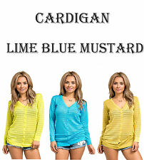 Womens Button Up V-Neck Knit Cardigan Lime Blue Mustard Long Sleeve Winter Warm