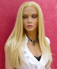 Full Lace Wig 100% Remy Indian Human Hair Bleach Blonde #613 Silky Straight new
