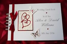 Personalised Boxed/Unboxed Wedding/Anniversary Guest Book Album Ruby Red 1536RBK