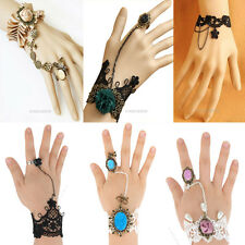 Fashion Elegant Lace Flower Bracelet with Finger Ring Jewelry Party Wedding Gift